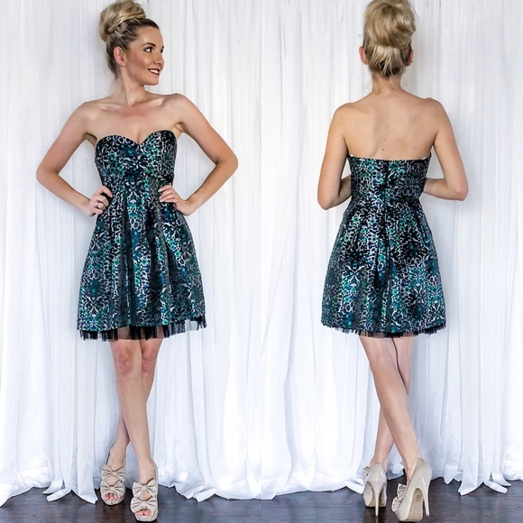 BCBG Strapless Colorful Leopard Print Dress d5f5ce1d9